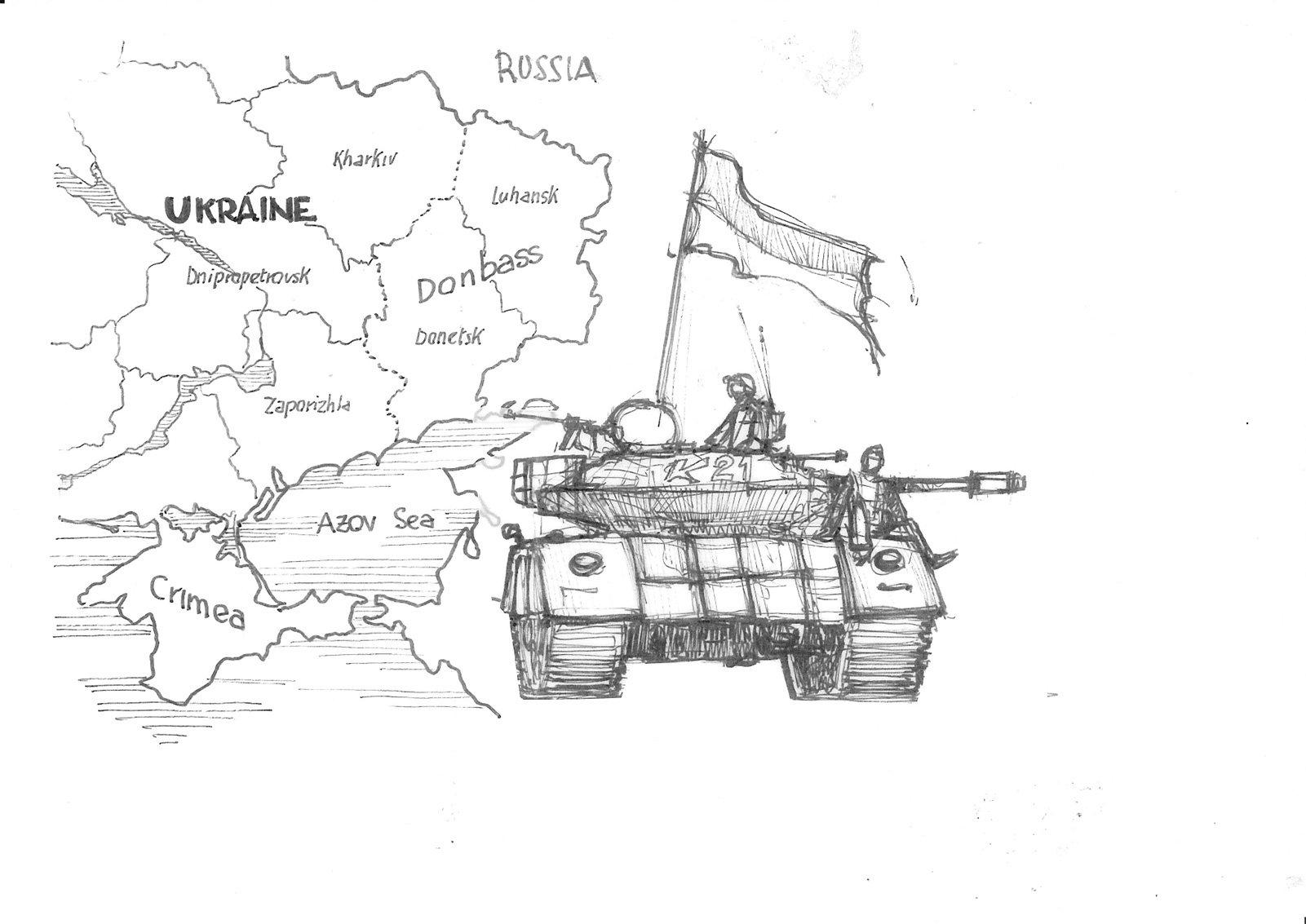 carro armato dell'esercito ucraino, sullo sfondo la carta del Donbass.